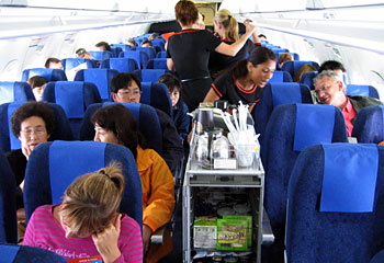 rows of people on a plane