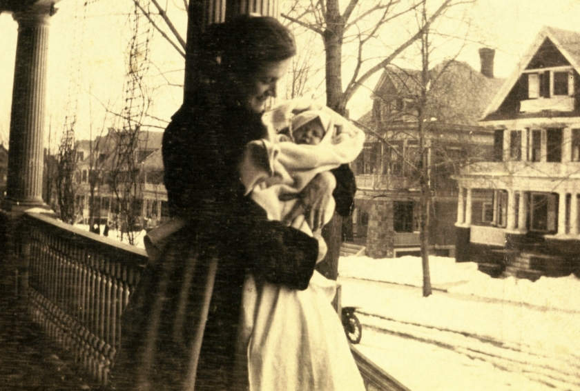 grace maloney w her new baby 1915