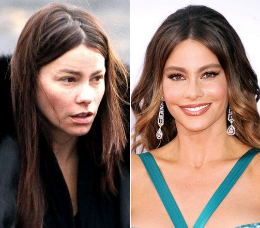 sofia vergara w & w out makeup