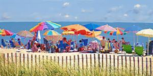 beach umbrellas flapping
