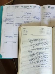 a list & diary entry