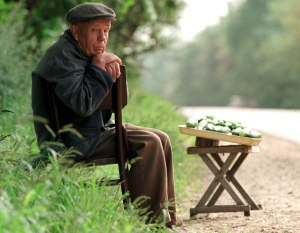 AN ELDERLY RUSSIAN MAN SELLS CUCUMBERS AT THE ROADSIDE.
